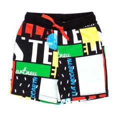 Stella Mccartney - Bermuda Multicolor Bambino - Frizzante bermuda nero in  felpa con stampe multicolor firmato 82f4a967352