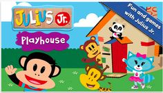 Julius Jr.'s Playhouse - an app for small kids. a set of activities for the fans of Julius Jr. TV show: object/feature recognition, shapes/colors identification, jigsaw puzzles, interactive play ('cake making') and a simple musical activity.  #kids #apps #puzzles