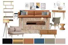 Think city dwelling, loft living, warehouse conversions. The style is often quite masculine a… Simple Living Room Decor, Living Room Decor Inspiration, Boho Living Room, Living Walls, Living Room Color Schemes, Living Room Designs, Blue Kitchen Decor, Interior Design Boards, 3d Studio