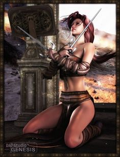 Warrior woman with sai