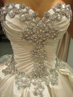 gorgeous wrapped fitted satin silk crossover cross-over bodice with ruched ruching and gorgeous sparkles sparkling dazzling texturized silver metallic bling crystals jewels jeweled embellishments beads beaded shiny shimmer glimmer beading rhinestones glittering sequins diamante embroidery accents detailing glitzy glamorous bejeweled ... full pleated princess ballgown skirt by Pnina Tornai