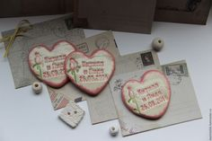 Сердце-Магнит-Приглашение-Свадьба - керамика ручной работы