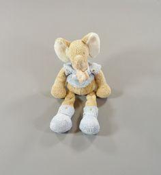 Doudou éléphant longues pattes beige tee-shirt bleu Nicotoy 25 cm