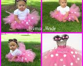 "Hot Pink Minnie Mouse Tutu 6"" long w/matching mouse ear clippies Size newborn 3 mo 6 mo 9 mo 12 mo 18 mo 24 mo 2t 3t 4t"
