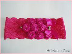 faixa em renda maravilhosa para uma princesa!!!!! <br>pode ser feita em outras cores...
