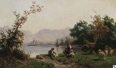 Karl Girardet: Schafhirten vor der Kulisse eines schweizerischen Gebirgssees aus unserer Rubrik: Gemälde des 19. Jahrhunderts
