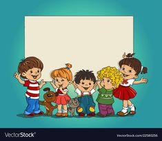 Group of children vector image on VectorStock School Border, Boarders And Frames, School Frame, School Boy, Kids Education, Vector Free, Preschool, Bookmark Craft, Clip Art
