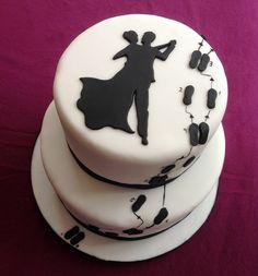 Dance Birthday Cake, 25th Birthday Cakes, 50th Cake, Beautiful Cakes, Amazing Cakes, Dance Cakes, Silhouette Cake, Fondant Decorations, Cake Images