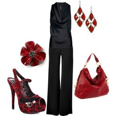 fancy date night outfit. Chic Red