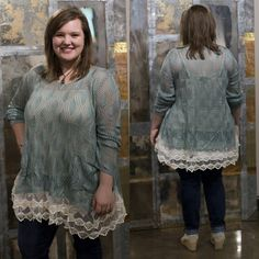 blue and lacy! This top transitions beautifully from winter to spring and even summer. #JFY #lacy #beautiful #Spring #fun #flattering #Fashion