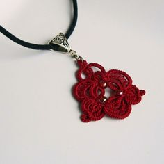 Red Necklace . Lace . Beads . Tatting . Christmas by LacyTreasures