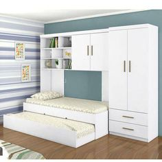 This mirrored bedroom furniture is truly a magnificent design technique. Bedroom Closet Design, Home Room Design, Small Bedroom Designs, Small Room Bedroom, Mirrored Bedroom Furniture, Kids Bedroom Furniture, Space Saving Furniture, Bedroom Decor, Bedroom Ideas
