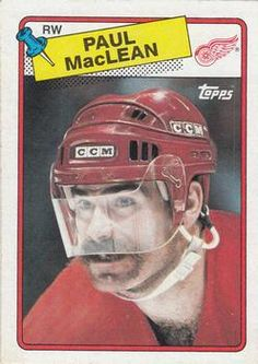 1988-89 O-Pee-Chee #38 Paul MacLean Hockey Cards, Detroit Red Wings, Trading Cards, Nhl, Picture Cards, Collector Cards