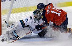 San Jose Sharks goaltender Antti Niemi makes a save on Florida Panthers forward Jonathan Huberdeau (Nov. 11 2014).
