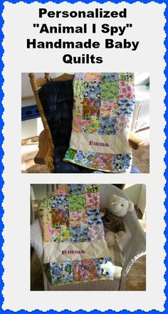 """Personalized """"Animal I Spy"""" Handmade Baby Quilts from the BabyQuiltLady http://uniquebabyquiltboutique.com/"""