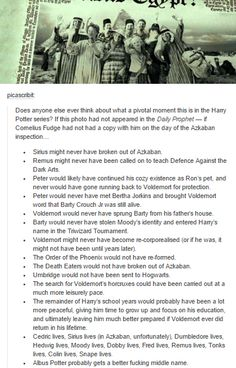 I NEVER THOUGHT OF THIS HOLY SHIT YESSSSSSSSSSS. I want to read the fanfic that starts from year 3, no sirius escape, and voldie returns like 5 years after he was supposed to, harry got a decent education and is an auror and legit fights him. THAT WOULD BE AMAZING