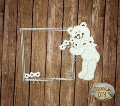"Laser Cut Chipboard ""Frame with bear"" by SiberianDIYcraftsArt on Etsy"