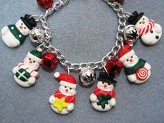 Polymer Clay Snowman Jingle Bells Christmas Charm
