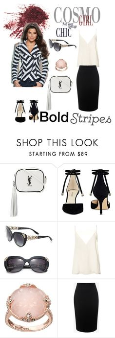 """Black & white stripes"" by elba-llerena ❤ liked on Polyvore featuring Yves Saint Laurent, Nine West, Bulgari, Anine Bing, Lavish by TJM, Alexander McQueen and Venus"
