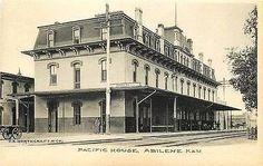 Abilene Kansas KS 1905 Union Pacific Railroad Depot Hotel Antique Postcard - Moodys Vintage Postcards - 1