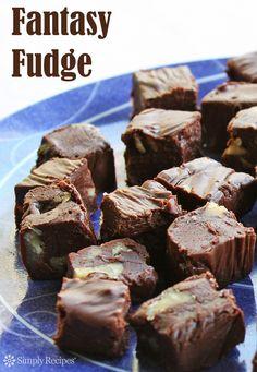Easy-to-make fantasy fudge recipe with semi-sweet chocolate, evaporated milk, sugar, butter, and marshmallow cream. ~ SimplyRecipes.com