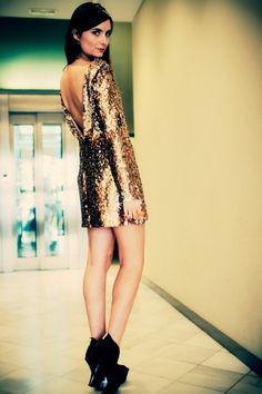 THE NATALIE. GOLD SEQUIN COCKTAIL MINI DRESS FEAT PLUNGE BACK & LONG SLEEVES