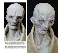 "The Art of Star Wars: The Force Awakens // Snoke 02 ""J.J. wanted to base Snoke on the Hammer Films movies, giving the design a ghoulish look. We made a bust out of marble powder, because we talked him being very pale. And I imagined him to be a beautiful marble sculpture, so dark and menacing, but actually quite beautiful to look at."" -Manzella"