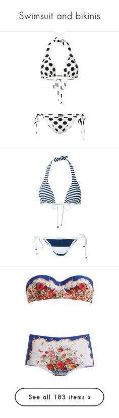 """Swimsuit and bikinis"" by bliznec ❤ liked on Polyvore featuring swimwear, bikinis, white, white swimwear, white bikini, halter neck bikini, bikini swimwear, white halter top, blue and halter tops"