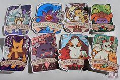 Pokemon kanto gimnasio insignia etiqueta conjunto