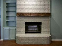 Diy mantel. This is almost exactly what I've been thinking of doing with ours. Dark and chunky!