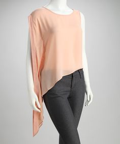 Take a look at this Peach Asymmetrical Top by FAISCA on #zulily today!