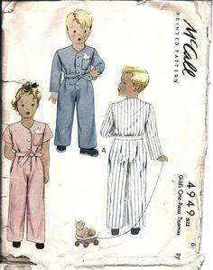 ^Vintage McCalls Sewing Pattern 1940's Boys Girls One Piece Pajamas 4949 6 OOP
