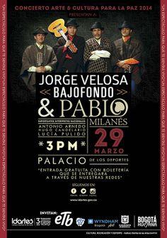 Afiche / Jorge Velosa / Concierto Arte y Cultura para la Paz. Concepto, diseño y retoque fotográfico. Diseño: Cristian Hernández / Daniel Roa. Bogotá, 2014.