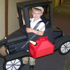 Homemade Model T Car Halloween Costume: Our four year old son Matthew loves old cars. His Papa owns two antique cars, and Matthew loves working on them and riding in them... so for Halloween,