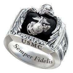 Sterling Silver USMC Ring Gift For Marines