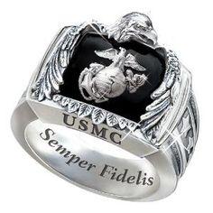 Sterling Silver USMC Ring: USMC Gift For Marines - size 8.5 --- if i had a marine Boyfriend!!