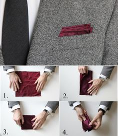 How to fold a pocket square - Men's Fashion Pocket Square Folds, Pocket Square Styles, Pocket Squares, Suit Accessories, Men Style Tips, Gentleman Style, Wedding Suits, Mens Suits, Style Guides