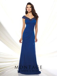 Tip-of-the-shoulder stretch mesh slim A-line gown with hand-beaded illusion cap sleeves, front and back beaded illusion wide V-necklines, directionally pleated sweetheart bodice, side draped skirt with center back gathers, sweep train. Matching shawl included. Sizes: 4 – 20, 16W – 26W Colors: Royal Blue, Smoke, Eggplant