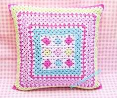 CROCHET PILLOW BY Kerry Jayne Designs Granny squares pillow Granny pillow pink pillow crocheted pillow Granny square cushion pink girls GBP) by KerryJayneDesigns Point Granny Au Crochet, Granny Square Crochet Pattern, Crochet Round, Crochet Squares, Crochet Home, Love Crochet, Crochet Crafts, Crochet Baby, Crochet Projects