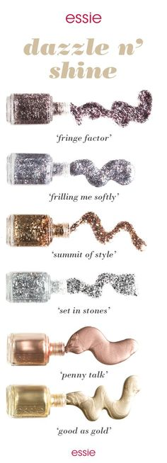 So many metallic shades, so many ways to liven up your winter mani. Get in on this perfection with nail polishes that are glitzy, glam and gorgeous like gunmetal and pink 'fringe factor', platinum and cobalt 'frilling me softly', sparkling bronze 'summit of style', disco mirror gloss 'set in stones', copper metallic 'penny talk' or the gold metallic 'good as gold'.
