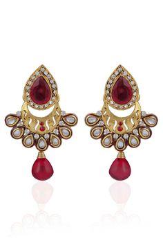 Maroon Gold Plated Kundan Earrings