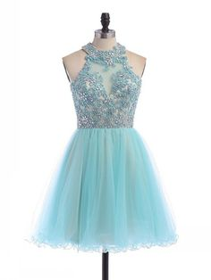 Short/Mini A-line Scoop Neck Tulle Beading Open Back Amazing Homecoming Dresses #DGD020100862