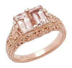 Generations 1912 14K Rose Gold Morganite Filigree Floral Love Ring