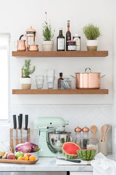 a retro kitchen with open-shelving