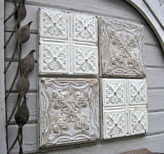 Tiles For Wall Decor Alluring Tin Ceiling Tile Antique Architectural Salvage Rustic  Tin Design Ideas