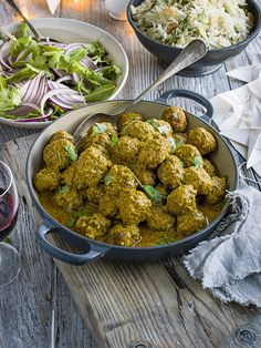 This keema meatball curry with almond rice is easy to make and feeds the family in under an hour.