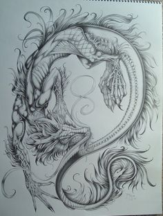 Drawn chinese dragon oriental dragon #779