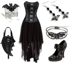 no on the bat jewelry, i'd do snakes, but the dress is cool and the purse & shoes are neat