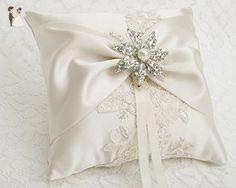 Wedding Ring Bearer Pillow, Detail Lace Ring Pillow, Ivory Ring Pillow Decoration, Wedding Ring Holder,Rhinestone Pearl Brooch Ring Pillow,Wedding decor-T27 - Wedding table decor (*Amazon Partner-Link)
