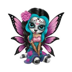 Bright Sofia Sugar Skull Fairy. www.teeliesfairygarden.com. . . Sofia, the sugar skull fairy  is a very unique looking Halloween fairy. Her tattooed face just made her stand out from the rest. Her hue features are blue, purple, black, and pink. #strangelingfairy